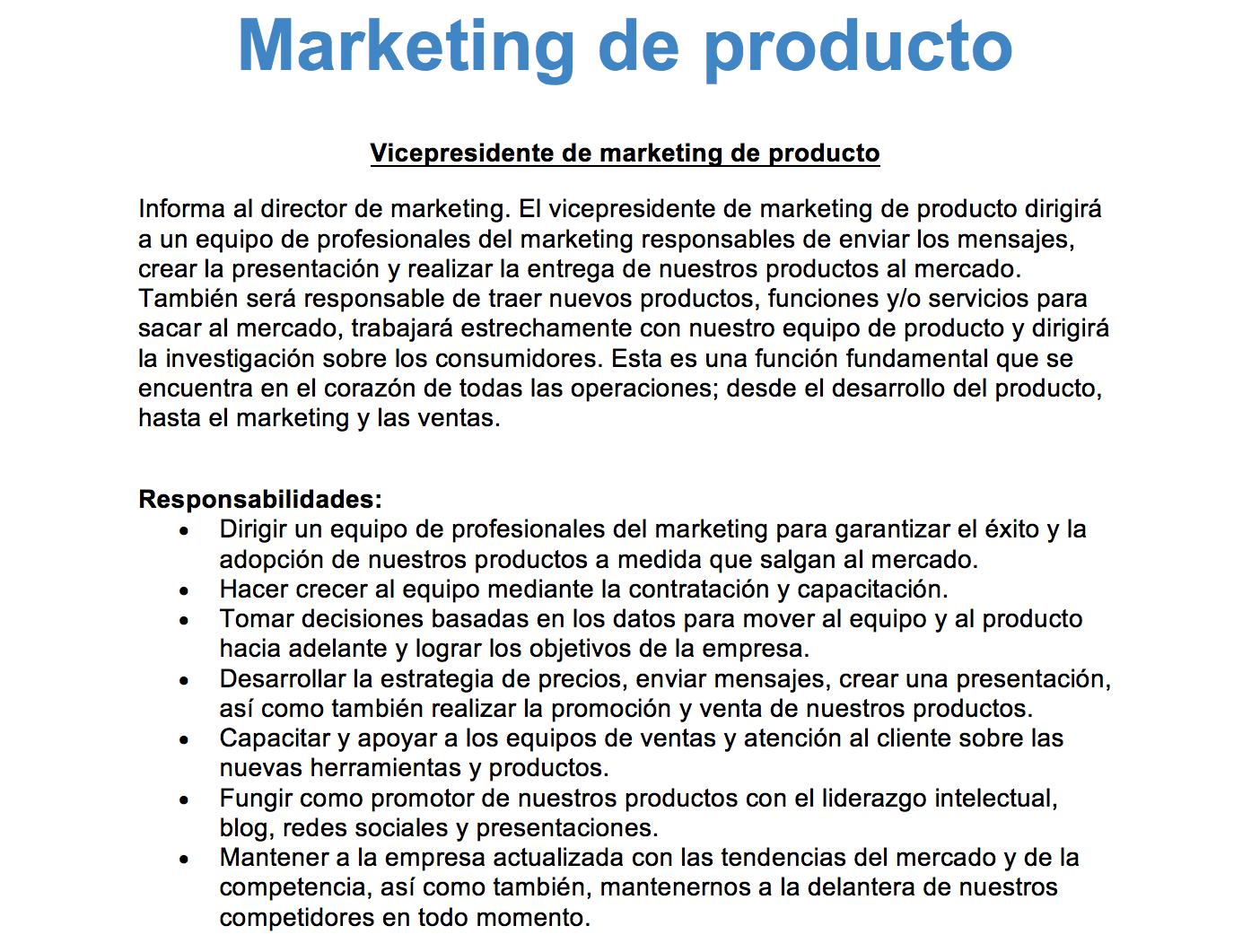 Descripciones de empleos de marketing
