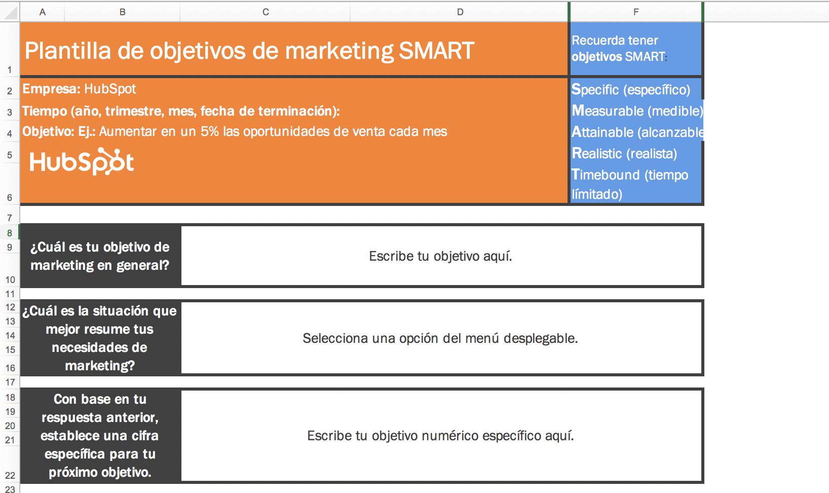 plantilla objetivos SMART 1