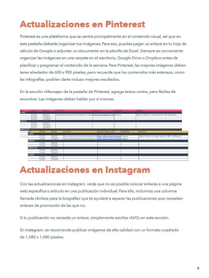 calendario de redes sociales instagram