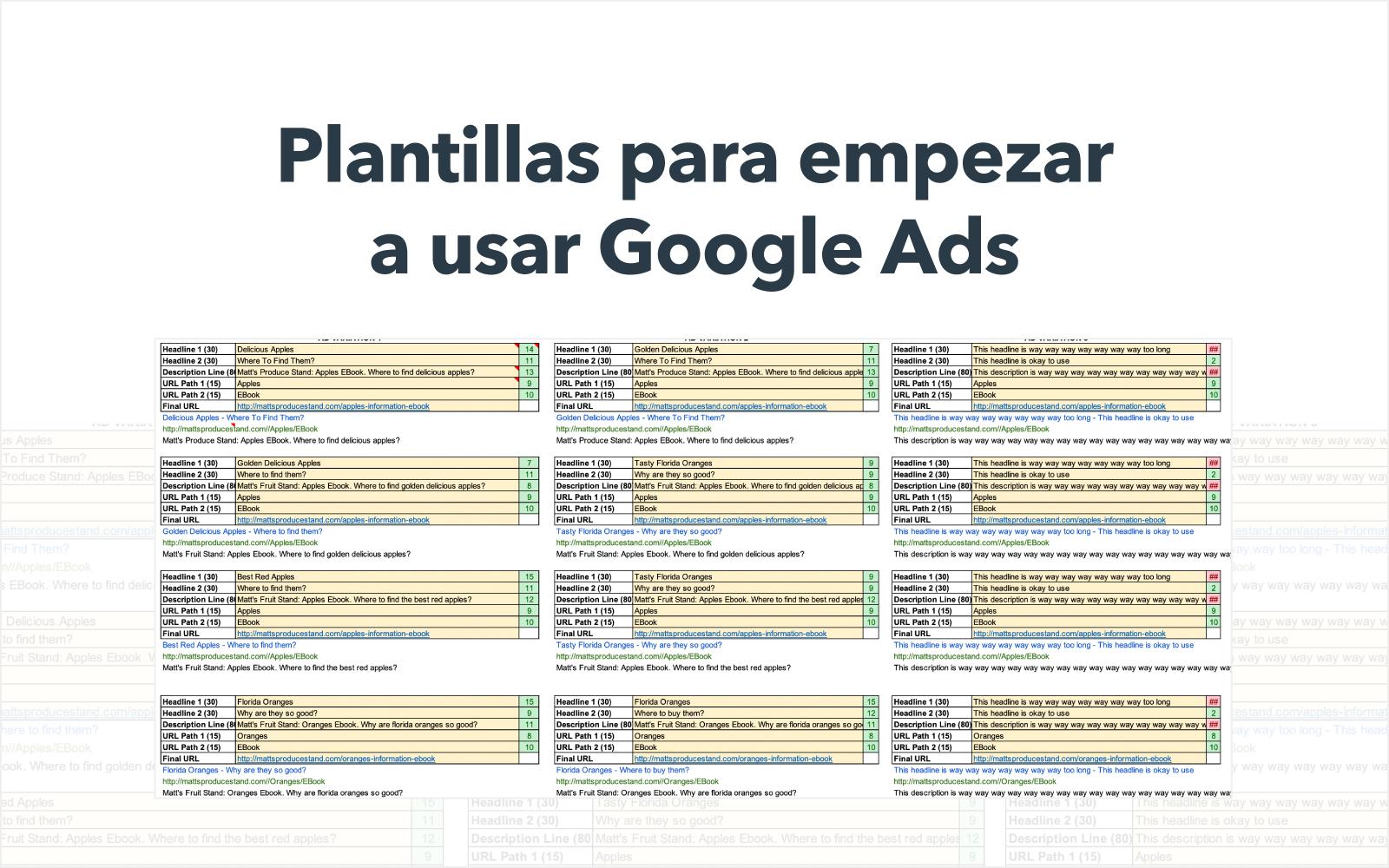 Plantillas para empezar a usar Google Ads